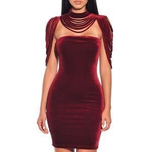 VELVET PINOT NOIR BODYCON MINI DRESS